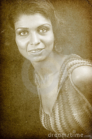 Vintage retro portrait of one classic woman