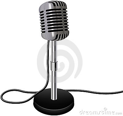 Vintage retro vector microphone