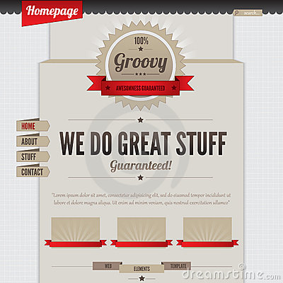 Vintage Website Design Template. Coffee Theme. HTM Royalty Free ...