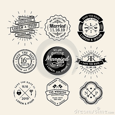 Free Vintage Retro Wedding Logo Frame Badge Design Element Royalty Free Stock Images - 52687139