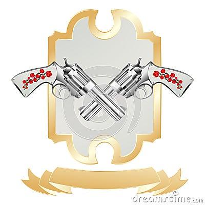 Vintage revolver and gold ribbon