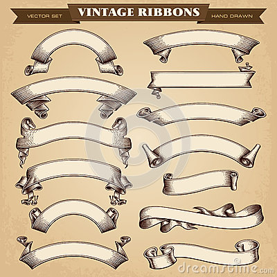 Vintage Ribbon Banners Vector Collection Vector Illustration