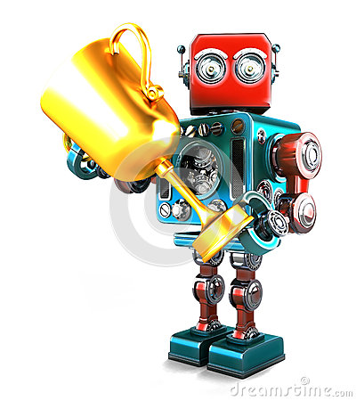 Free Vintage Robot Holding A Trophy. Isolated. Contains Clipping Path Stock Photography - 65614592