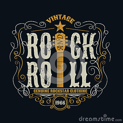 Free Vintage Rock And Roll Typograpic For T-shirt ,tee Designe,poster Stock Photography - 60354682