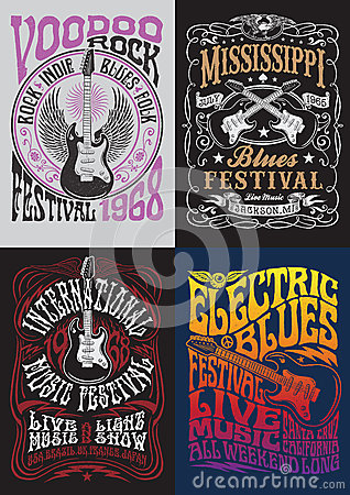 Free Vintage Rock Poster T-shirt Design Set Stock Photo - 47977540