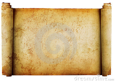 Vintage roll of parchment background isolated on w