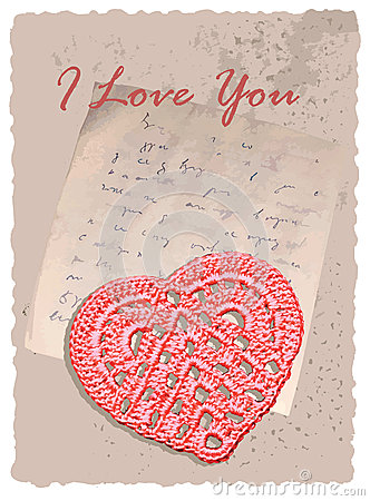 Vintage romantic card with heart