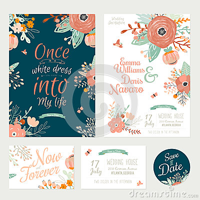 Free Vintage Romantic Floral Save The Date Invitation Stock Photo - 54617000