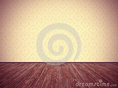 Vintage room design: floral wallpaper and weathered wooden floor