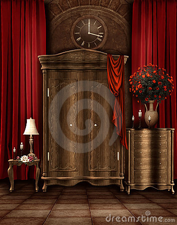 Free Vintage Room With A Wardrobe Royalty Free Stock Images - 19009179