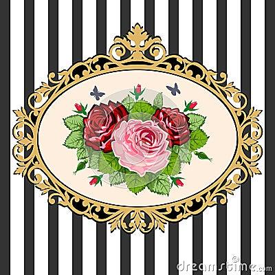 Free Vintage Rose Bouquet Frame Stock Photo - 19682630