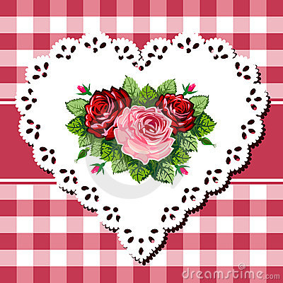 Vintage rose bouquet on lace heart