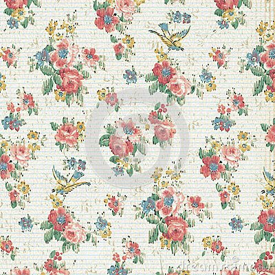 Vintage Rose Floral Wallpaper Shabby Chic