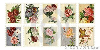 Vintage Rose Stamps