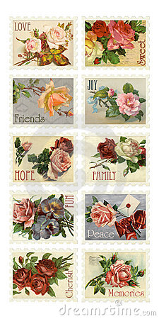 Free Vintage Rose Stamps With Sentiments Stock Images - 10192344