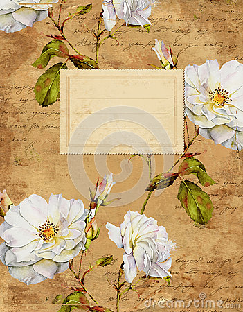 Free Vintage Roses Floral Notebook Cover Royalty Free Stock Photos - 58421108