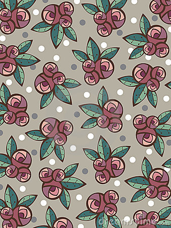 Vintage roses and leaves pattern