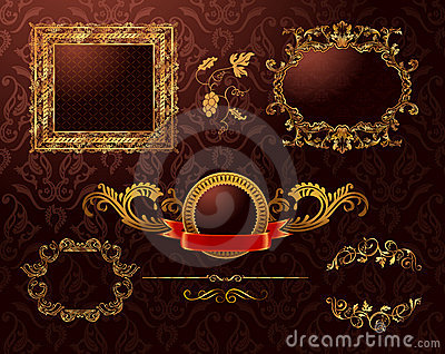 Vintage royal gold frames ornament. Vector element