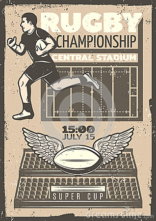 Vintage Rugby Competition Poster Vector Illustration