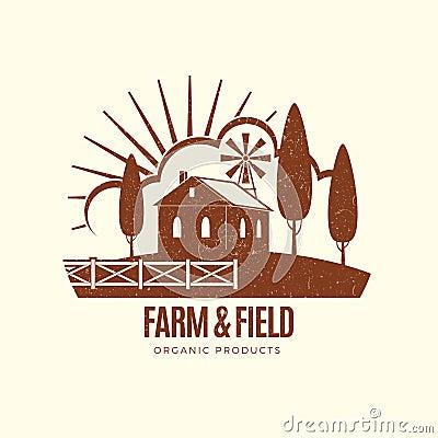 Free Vintage Rural Farm Emblem With Farm House Stock Photography - 107860972
