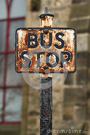 Vintage rusted Bus Stop sign