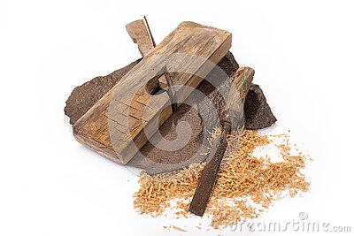 Vintage rusty plane and chisel on a white Stock Photo