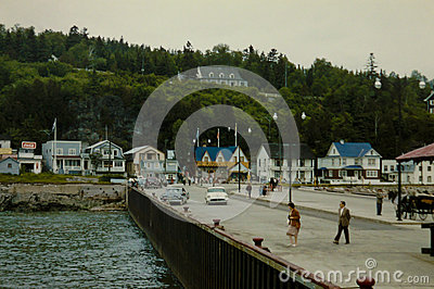 Vintage 1950 s Scene on Murray Bay, Quebec, Canada. Editorial Stock Image