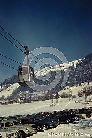 Vintage 1960 s Ski Lift in Austria Editorial Photography