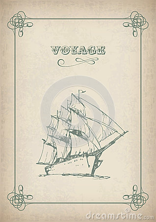 Vintage sailboat retro border drawing on old paper