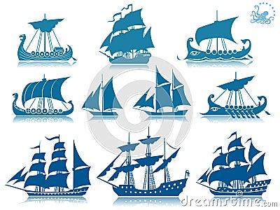 Vintage sailing boats