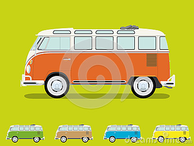 Vintage Samba Camper Van Vector Illustration