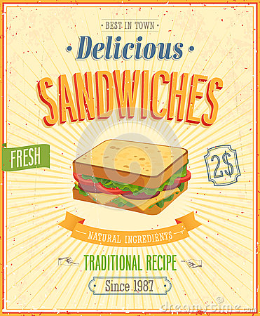 Vintage Sandwiches Poster.