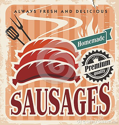 Free Vintage Sausages Vector Poster Stock Photography - 31716282