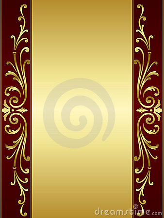 Free Vintage Scroll Background In Red Golden Stock Photography - 13335672