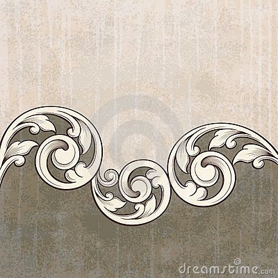 Vintage scroll engraving pattern grunge background
