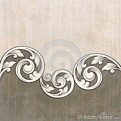Free Vintage Scroll Engraving Pattern Grunge Background Royalty Free Stock Image - 22669736