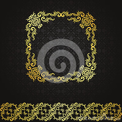 Vintage seamless background with frame and ribbon