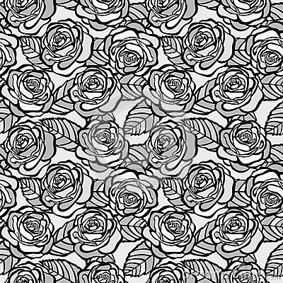 Vintage seamless background of gray roses