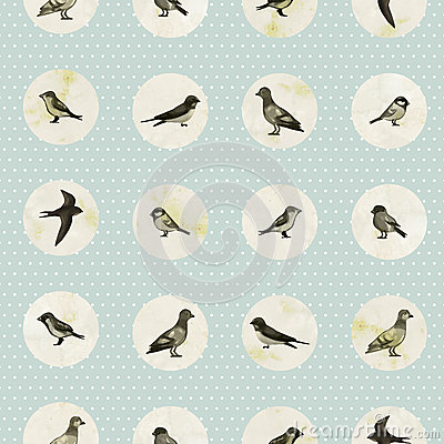 Free Vintage Seamless Pattern With Cute Little Birds Royalty Free Stock Photography - 42774177