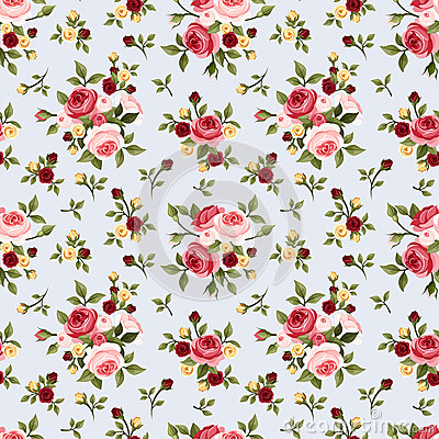 Free Vintage Seamless Pattern With Pink Roses On Blue. Vector Illustration. Stock Photos - 43542013