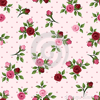 Free Vintage Seamless Pattern With Red And Pink Roses. Vector Illustration. Royalty Free Stock Photos - 40077218