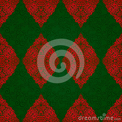 Free Vintage Seamless Pattern With Red Lacy Ornament. Royalty Free Stock Images - 60866069