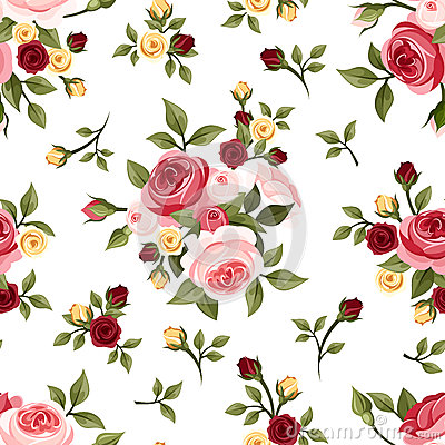 Free Vintage Seamless Pattern With Roses. Royalty Free Stock Image - 34934356