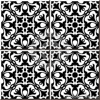 Vintage Seamless Wall Tiles Of Black White Geometry Flower ...