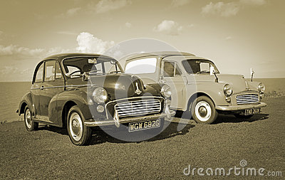 Vintage sepia morris minors Editorial Photography