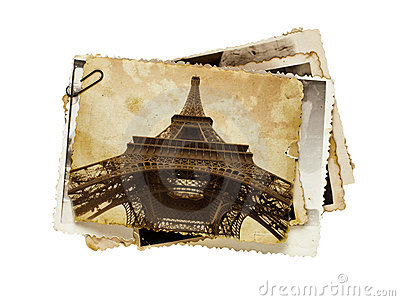 Vintage sepia postcard of Eiffel tower