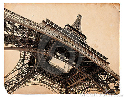 Vintage sepia postcard of Eiffel tower in Paris