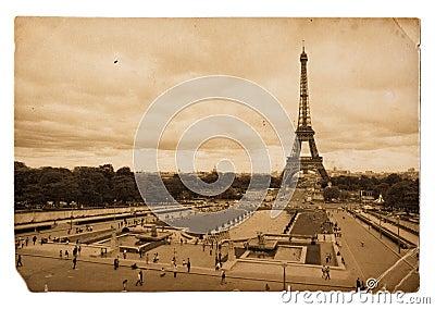 Vintage sepia postcard of Eiffel tower in Paris