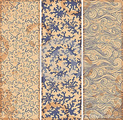 Vintage set of banners with ethnic waves