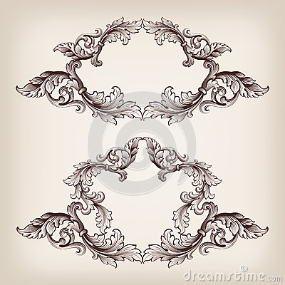 Vintage set border frame engraving baroque vector
